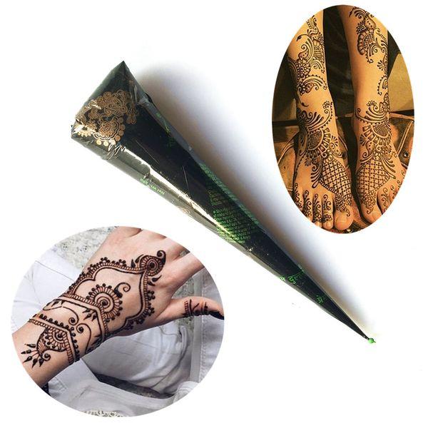 HOT Henna Waterproof Tattoo Cones Braun Farbe Frauen Körper Hände Finger Beine Diy Drawing Braun Weiß Blau Farbe Tattoo Cream Cone