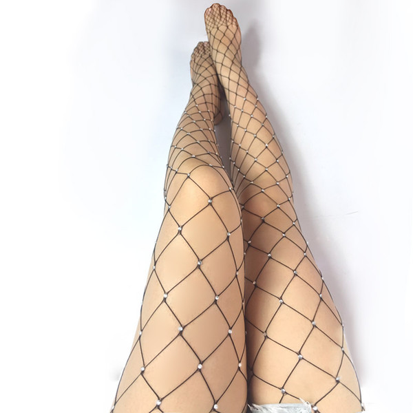 Sexy Body Stocking Hollow Out Fishnets avec Big Crystal Diamonds Clignotant Collant Costume Lingerie Dance Wear Noir Blanc Rouge