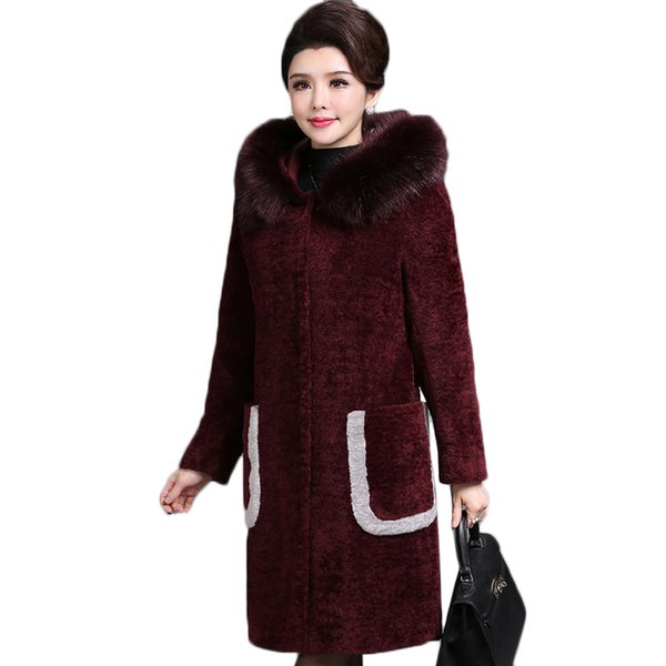 2018 Winter Woolen Jackets Women's Long Sheep Shearing Jacket Coat Women Thicken Warm Faux Fur Jacket Female Big fur collar Coat