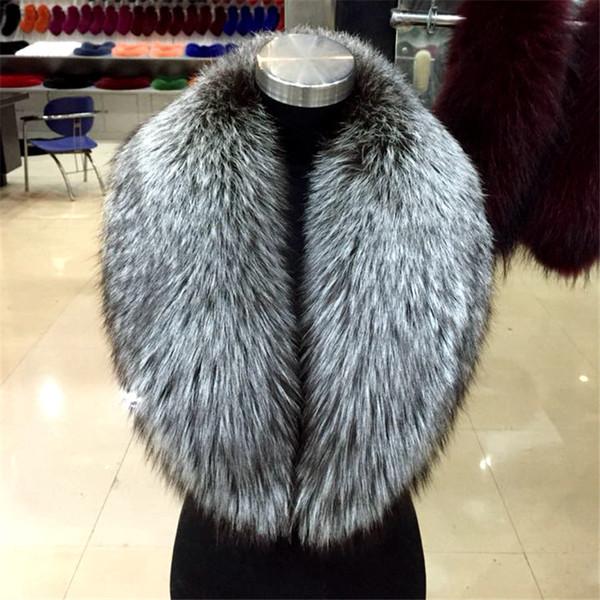 2018 neue heiße natürliche Silber Fuchs Fuchspelz Unisex Pelz Schal Schal große Mode warm