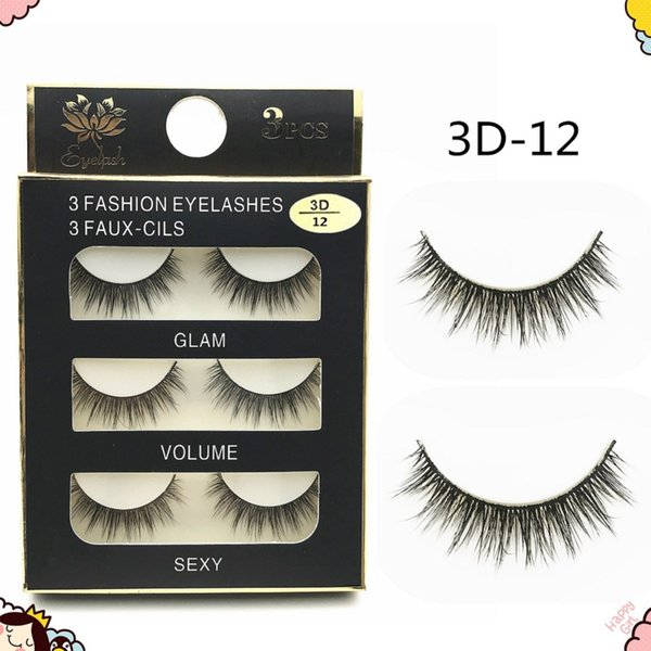 3 Pairs/Set 3D Cross Thick False Eyelashes Extension Makeup Super Natural Long Fake Eyelashes 10 SETS Wholesale New 3D-12