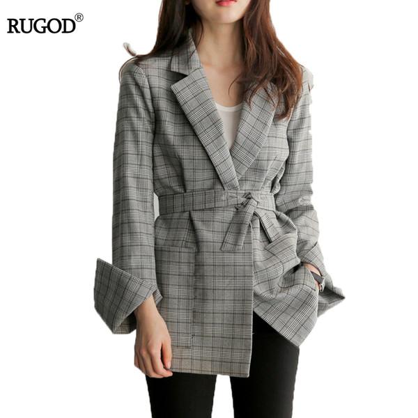 RUGOD 2018 New Spring Gray Plaid Belted Office Lady Blazer Jacket Fashion Notched Collar Work Suit Elegant Work Blazers Feminino L18101301
