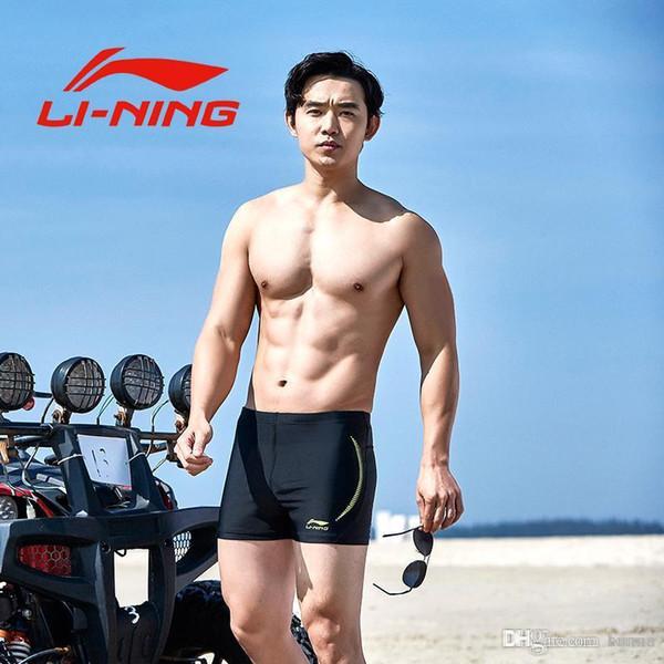 55f2cb80f10e Compre 2018 Li Ning Pantalones Cortos De Natación Para Hombre Traje De Baño  De Carreras Hombre Bañador De Natación Calzoncillos Respirable Traje ...
