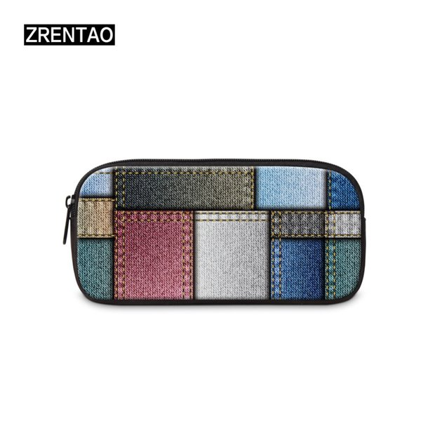 ZRENTAO polyester zipper pencil pouch for students fashion pen case for girls boys female cosmetic bag 3D plaid print makeup bag