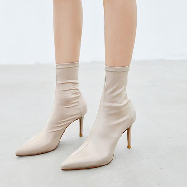 Arden Furtado 2018 Frühling Herbst High Heels 9cm Stilettos Stretch Stiefel Stiefeletten Satin Tuch Spitzschuh Damenschuhe 33 40