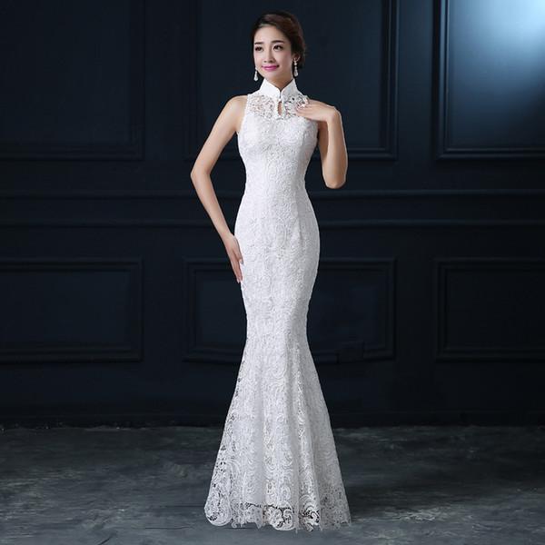 Qipao branco rendas cheongsam moderno chinês tradicional vestido de noiva mulheres colares orientais sexy longo qi pao noite sereia vestido