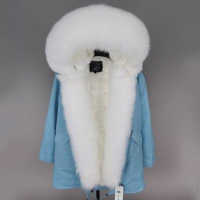 fashion ladies snow coats MAOMAOKONG Brand white raccoon fur trim hoody Threshold white fox and rabbit fur lined light blue long parka