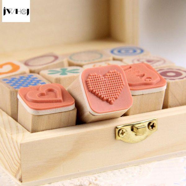 12 pcs/set Mini Cute diary wooden rubber stamp gift box sets Crafts diy Handmade decal scrapbooking Photo Album