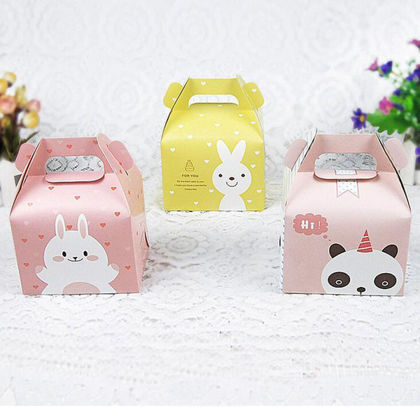 Cartoon Rabbit Handle Single Cupcake Muffin Packaging Paper Box Party Gift Boxes For Wedding Birthday Cake Box ZA5706