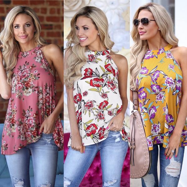 3XL New Summer 2018 Casual Women T-shirts Back Hollow Out Fashion Printed Sleeveless Loose Shirt Plus Size Chiffon Summer Tops