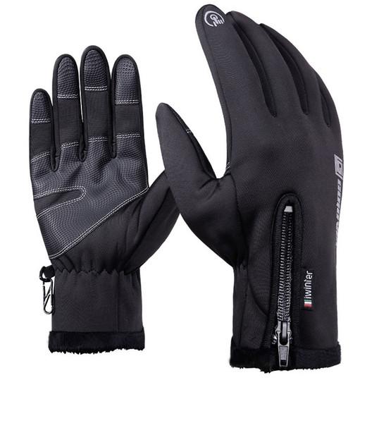 Outdoor waterproof gloves winter touchscreens windbreak full zippers warm sports fleece mountaineering and skiing glove 003
