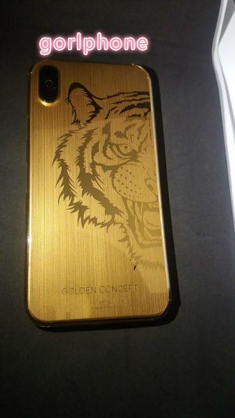 para iPhone X Volver Carcasa con marco de metal Reemplazo de la puerta de la batería para iPhone x oro real cepillado carcasa parte trasera parte de leopardo Envío gratis