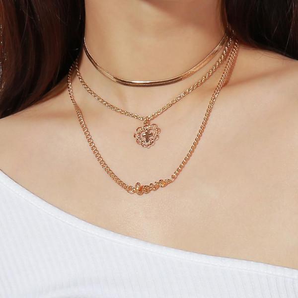 missdu fashion personality trend european fan street pendant alloy cross letter multi-layer necklace female