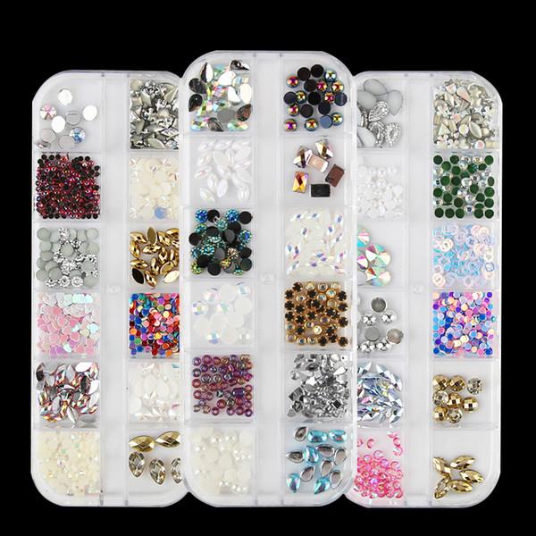 12 Patterns AB Color Glitter Rhinestones Sequins Gem Caviar Crystal Pearl Bead Acrylic UV Gel 3D Tips Decoration Manicure