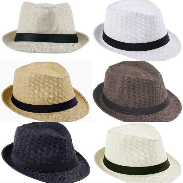 Popüler Mix Renkler Panama Hasır Şapkalar Fedora Yumuşak Vogue Erkekler Kadınlar Yaz Güneş Plaj Şapka Için Cimri Brim Caps