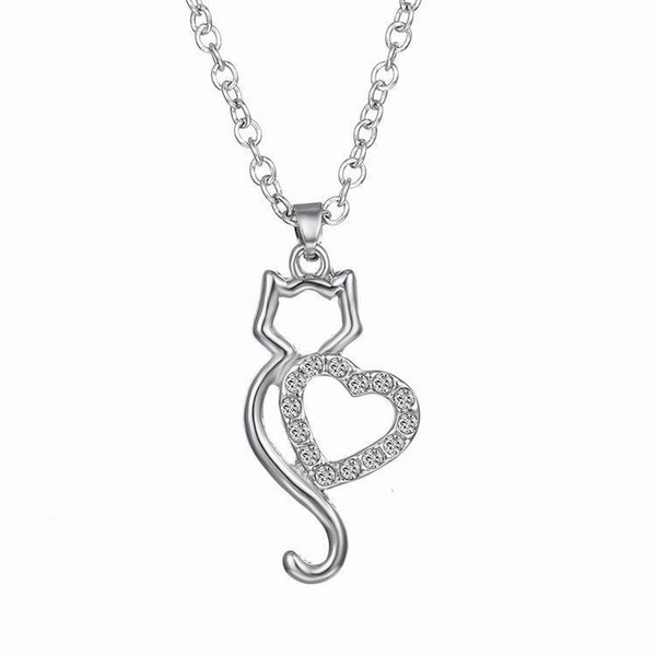 XH hollow diamond cat necklace couple heart creative jewelry factory direct fashion accessories wholesale