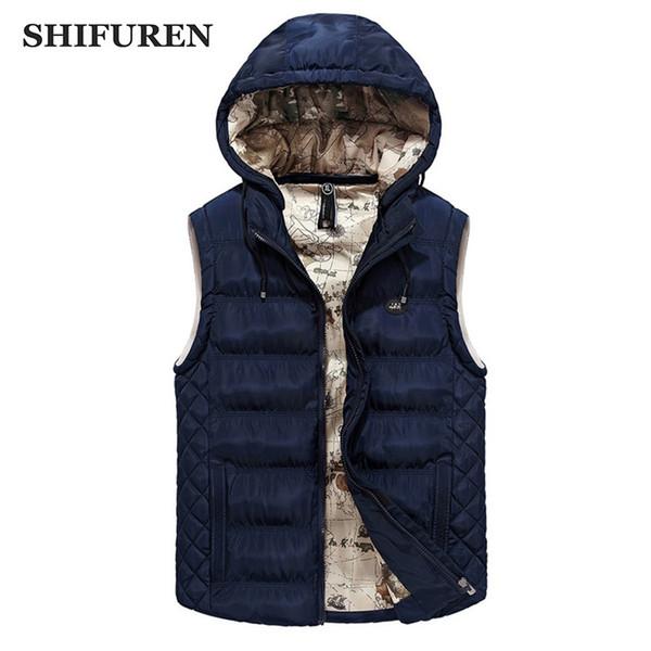 SHIFUREN Men Winter Thicken Vest Hooded Casual Sleeveless Waistcoat Male Warm Outerwear Jacket Hat Detachable Size L-XXXL