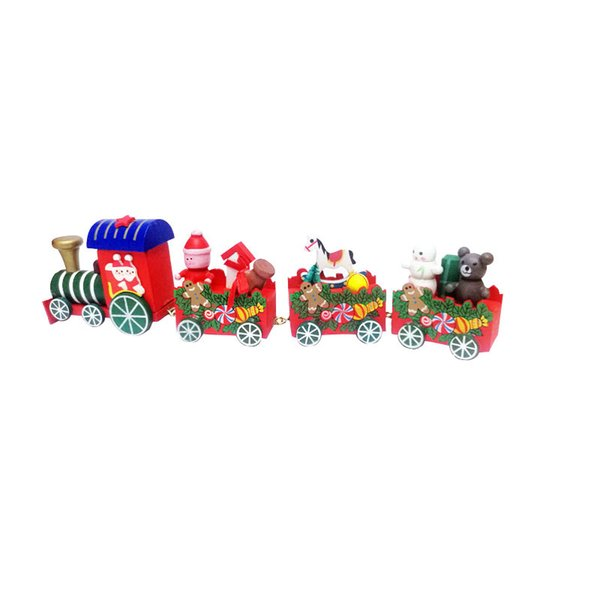 Christmas wooden train set wooden train with santa and bear home decoration ornament for kids new year gift A