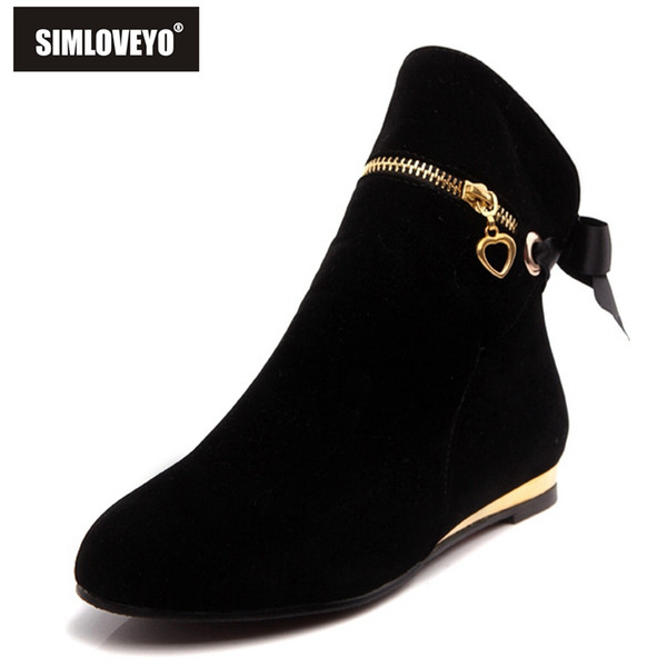 style cute five colors 43 large size autumn winter boots suede bow shoes for women short round toe solid ankle boots