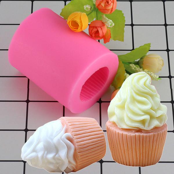 Toptan 3D Cupcake Şekli Sabun Silikon Kalıpları Mum Fimo Kil Kalıp Fondan Kek Dekorasyon Araçları Dondurma Şeker Çikolata Kalıp