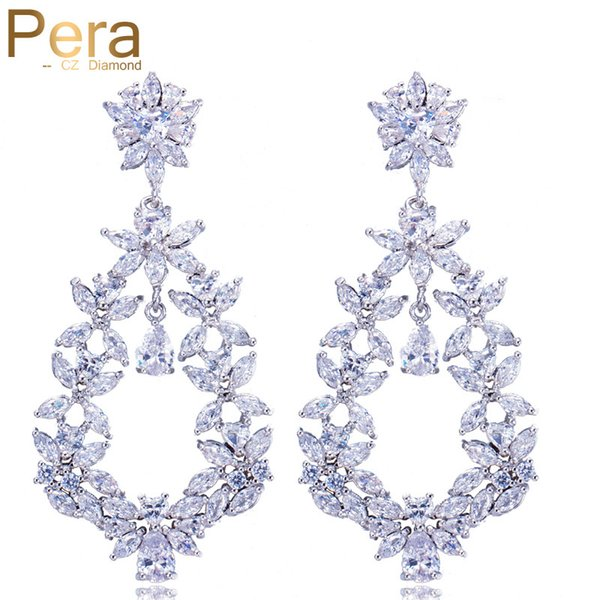 Pera Luxury Mother's Day Gift Jewelry Big Statement Cluster Flower Marquise Shape Long Cubic Zirconia Earrings For Women E265 C18111901