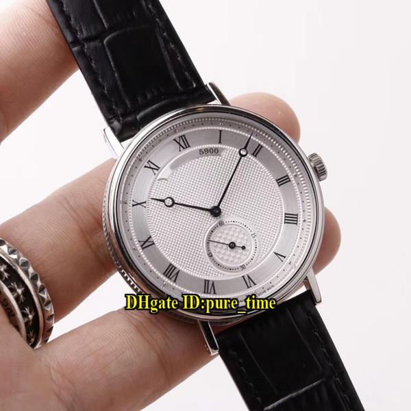 Cheap New 40mm Classique Heritage 5907BB / 12/984 Movimento Automático Branco Dial Mens Watch Caso de Aço Caso Pulseira de Couro Gents Relógios