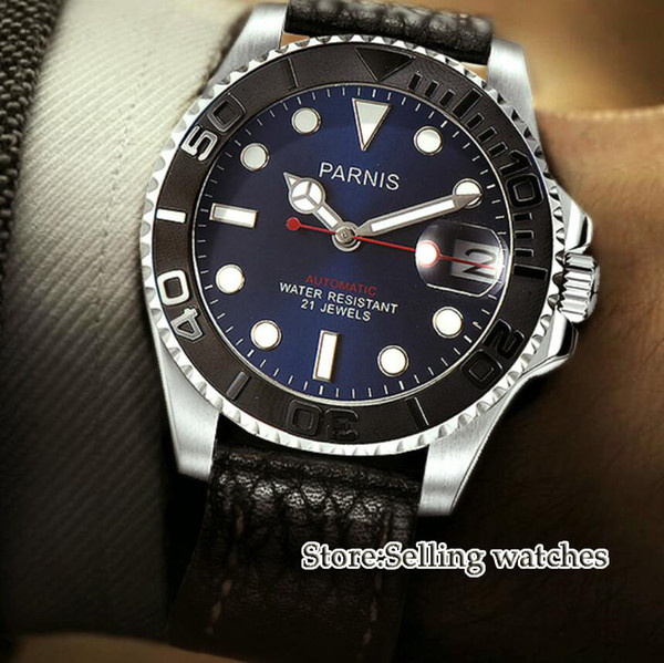 41mm Blue Dial Sapphire Glass Romantic Sweet Date window 21 jewels Miyota 8215 Automatic Movement men's Watch