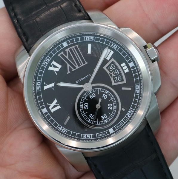 Новый калибр де 42 мм мужские автоматические часы движения мода мужская Спорт наручные часы черный циферблат и кожаный ремешок W7100041