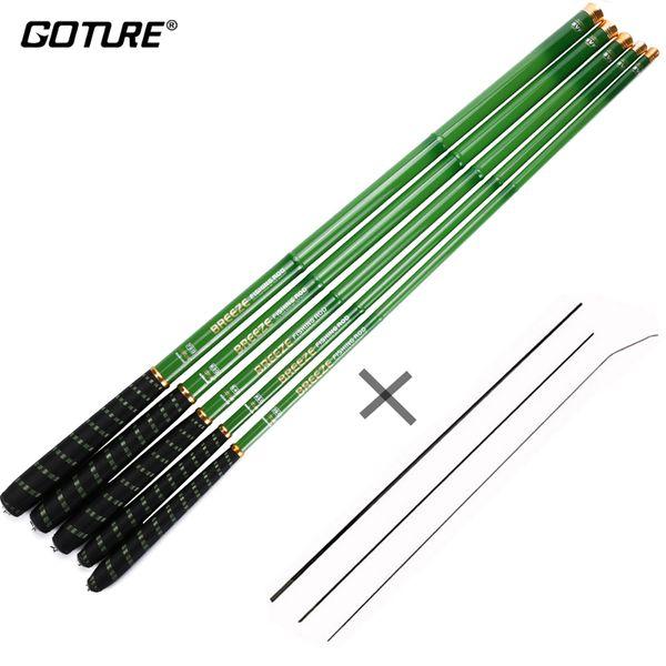 Goture Stream Telescopic Fishing Rod Carbon Fiber Tenkara Fishing Pole Carp Rod 3.6M 4.5M 5.4M 6.3M 7.2M+3 Spare Top Tips