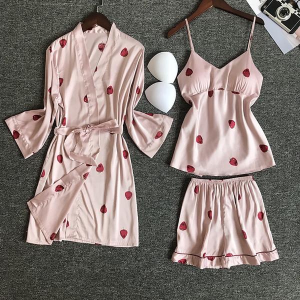 nighties women pajamas satin sleepwear pijama silk home wear pink home robe chest pads sleep lounge pyjama pink white 3 pieces