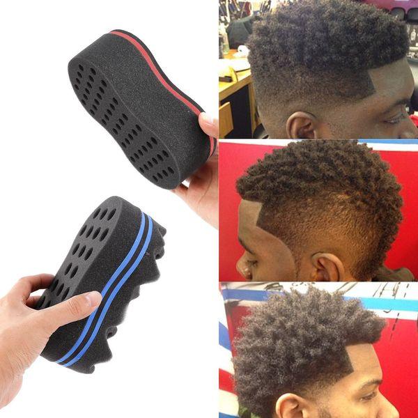 Magie Double Tête Éponge Hommes Coiffeur Brosse À Cheveux Noir Dreads Verrouillage Afro Twist Curl Bobine Brosse Cheveux Styling Outils GGA120 50 PCS