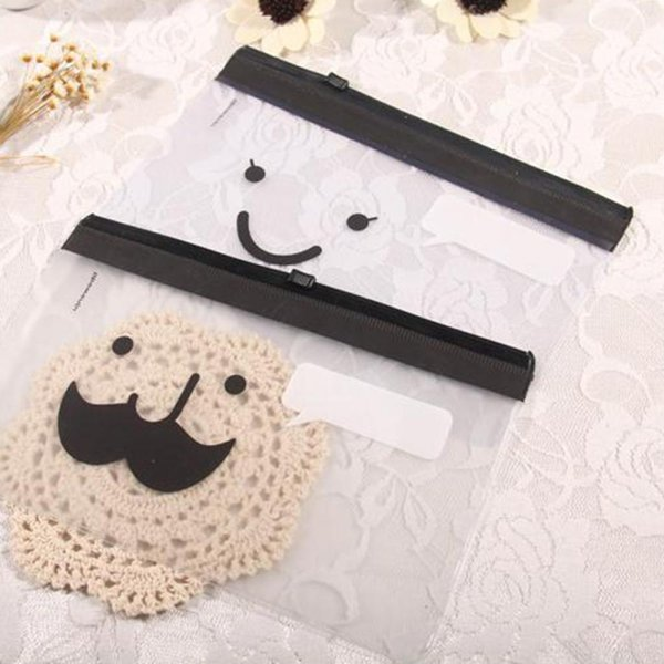 ISKYBOB Transparent Moustache Smile Office Cosmetic Make Up Pencil Bag Pouch Case Cute Cosmetic Cases Free Shipping