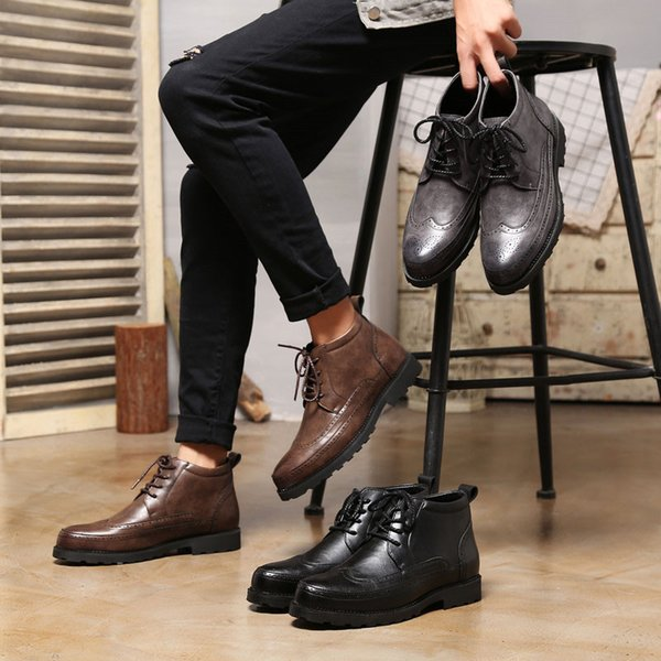 2019 Gummi Up Botas Sneakers Von Cn66 Stiefeletten Grau Lace Split Großhandel Style Männer Winterstiefel Braun Leder Schwarz Casual Vintage WDHEI92