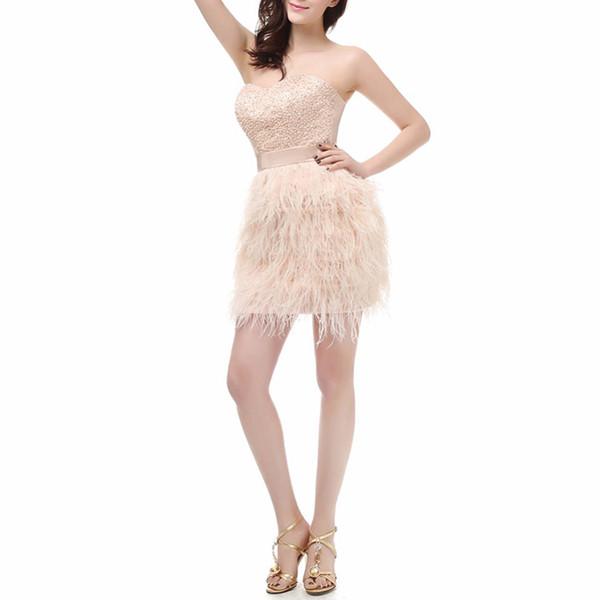 Seksi Sevgiliye Kılıf Kısa Gelinlik Modelleri 2018 Glamorous Şampanya Tüy Boncuk Mini Akşam Parti Elbise Balo Abiye vestido de festa