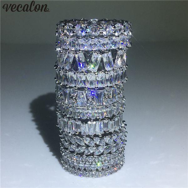 Vecalon 9 Amantes de Estilos anel de Dedo 925 Sterling Silver Diamonds cz Anel de noivado de casamento banda Para as mulheres Jóias