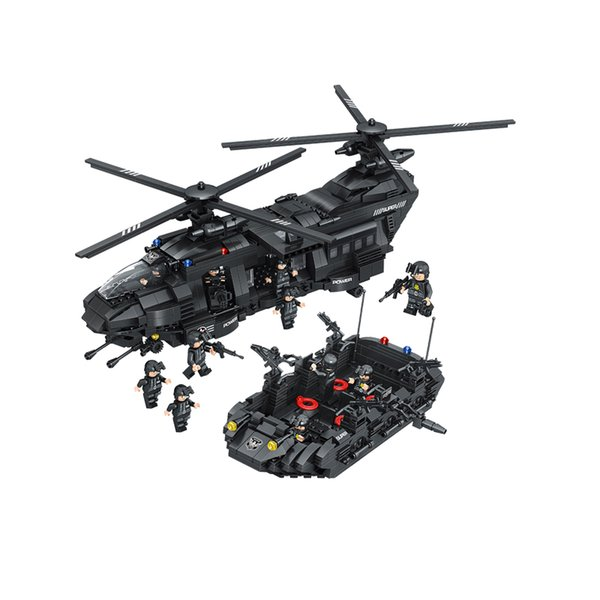 Blocos de construção de 1351 pcs swat team building blocks transporte chinook comparativo com alta marca helicóptero meninos tijolos brinquedos