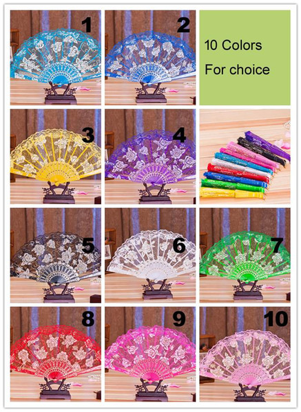 DHL 50pcs/lot Spanish style rose flower design plastic frame lace silk hand fan, Chinese craft folding fan