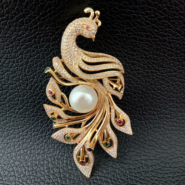 BR101917 White Pearl Cz Pave Gold Plated Phenix Brooch