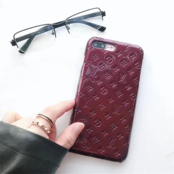 For Iphone 11 Pro Max X XS XR 8 7plus Fashion Designer Brand Patent Leather Phone Case for Samsung Note10 plus S10 5G S9 S8 Note9 Hard Cover