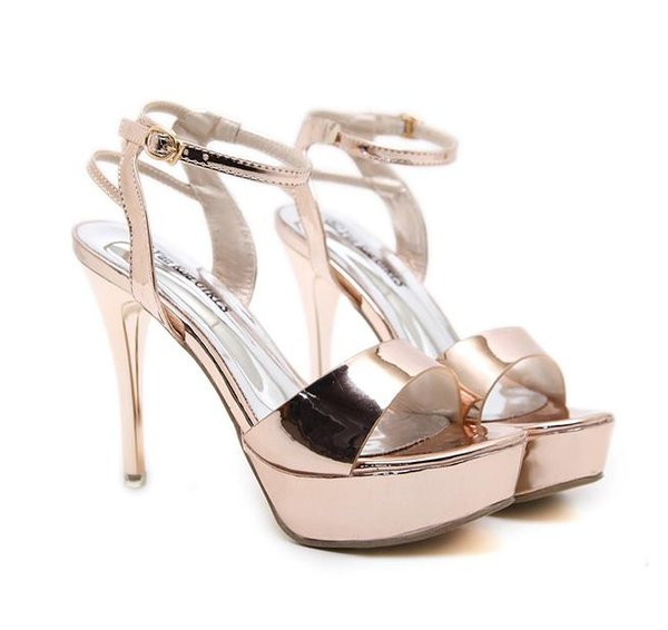 Glossy Patent PU Leather Ankle Strap Platform Thin High Heels Prom Shoes Champagne Gold Black Size 34 To 39