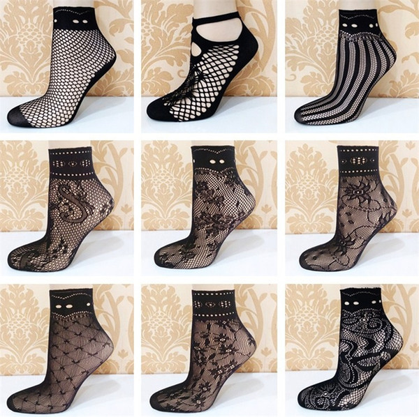 Wholesale- Fashion Lady Girl Lace Hollow Ventilation Socks Net Socks Short Socks For Woman 1000pairs/lot T2B084