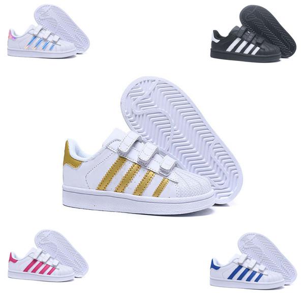 varios tipos de proporcionar una gran selección de gran venta Compre Adidas Superstar Crianças Sapatos Meninos Meninas Tênis 2018  Primavera Outono Inverno Nova Chegada Moda Super Estrela Adolescente  Calçados ...