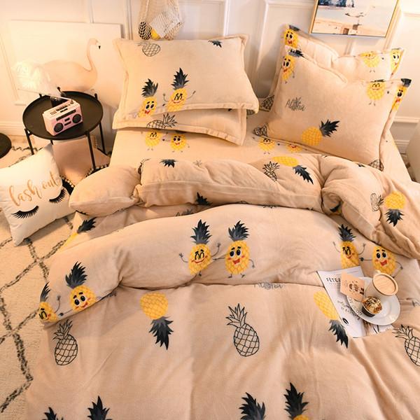 Biancheria da letto di lusso in tessuto per la casa Set con copripiumino Lenzuolo 4 pezzi Bambini Ragazza per bambini Cactus Ananas biancheria da letto inverno