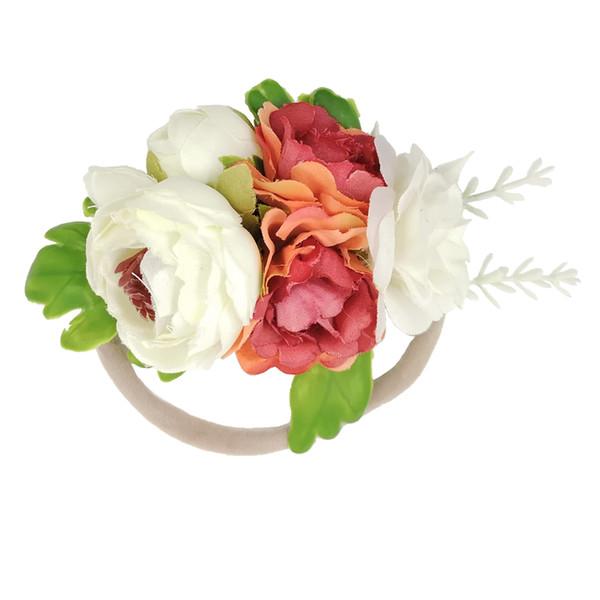 Beautiful Ivorie Artificial Flower Crown Soft Elastic Nylon Headbands For Newborn Kids Girls Women Baby Headband Hair Accessories