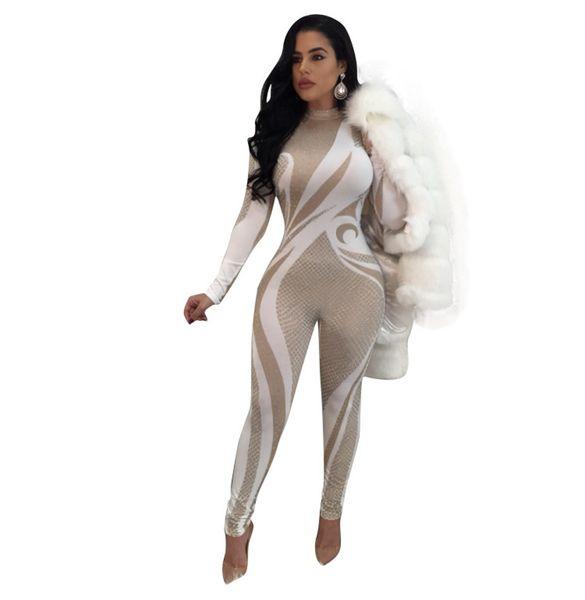 9f592c92406 Fashion Print Women Long Jumpsuit Autumn Winter Ladies Long Sleeve Slim  Bodycon Jumpsuits Zipper Back One