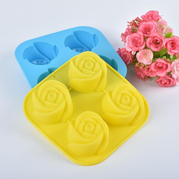 Silicone Ice Maker Moule Rose Fleur Forme Gâteau Moule Sûr Non Toxique Résistant À La Chaleur Moules À Chocolat Ménage 3 6dy B