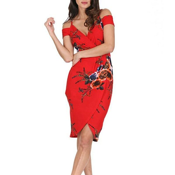 Sexy Straps Off Shoulder Backless Plowers Print Irregular Beach Summer Dress Women 2018 V Neck Bodycon Red Party Midi Dresses