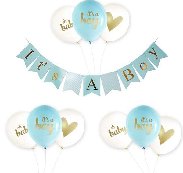 Baby Shower Decoration Its a Boy Pink Girl Baby Shower Banners and Ballons 1st Birthday 1 Year One Newborn Baby Shower Decor Party Favor
