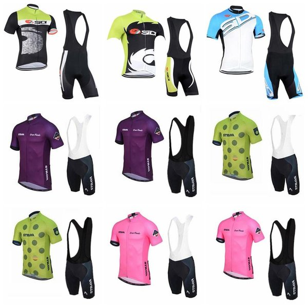 SIDI Strava team Cycling Short Sleeves jersey (bib) shorts sets Pro Team MTB Cycling Jersey breathable bicycle clothing sportswear 90407J