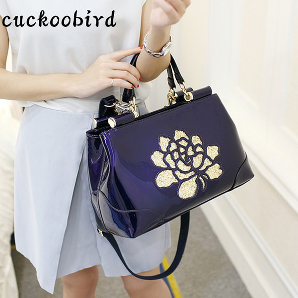 Borse a tracolla in pelle verniciata Cuckoobird Satchel Bag per le donne Summer Fashion Colore solido con ricamo Borsa a mano floreale